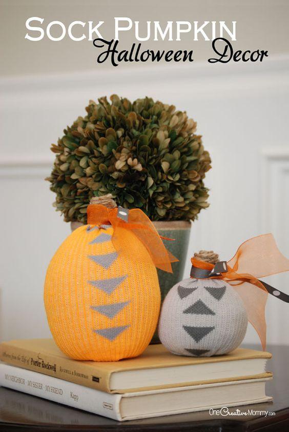 Turn boring socks into cool pumpkin Halloween decorations Socks - halloween decor images