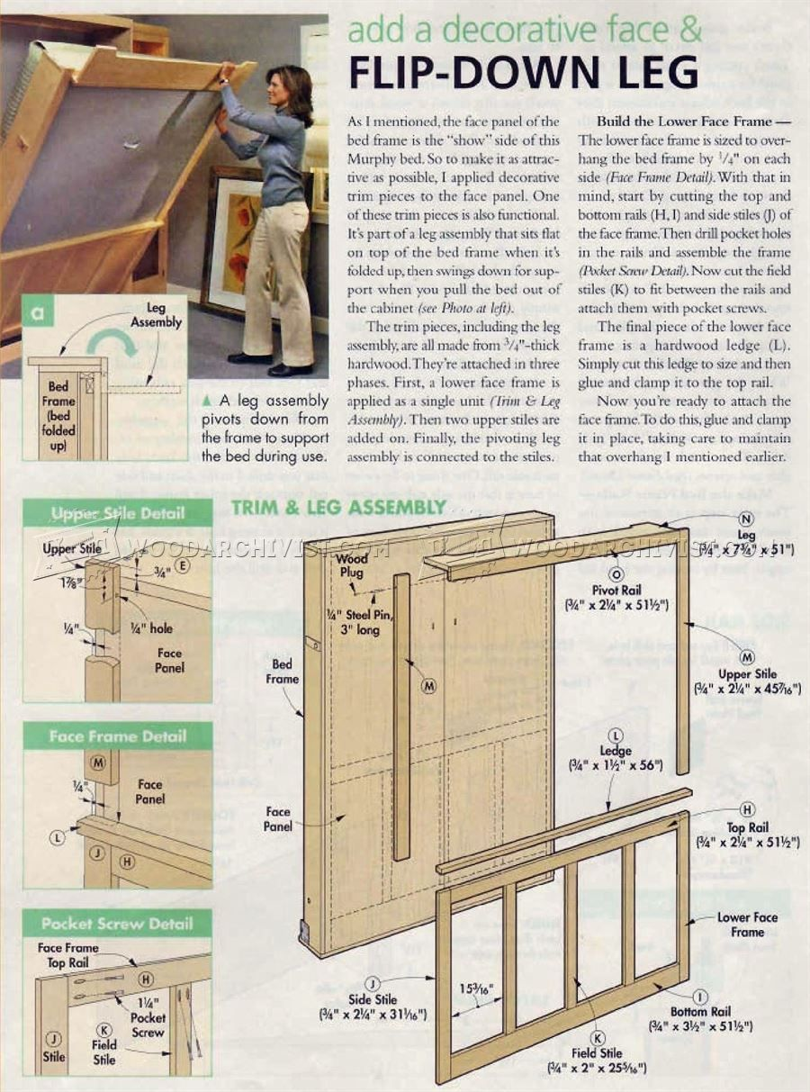 2932 Murphy Bed Plans Furniture Plans Furniture Ideas