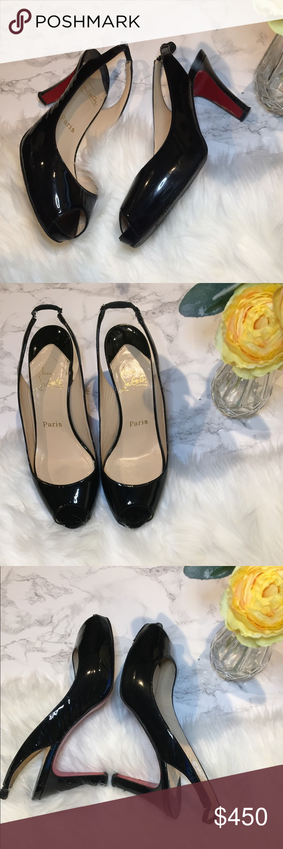 1bf4f71fb99c Christian Louboutin Prive Sling back pumps Black patent leather Christian  Louboutin Prive peep-toe pumps with concealed platforms