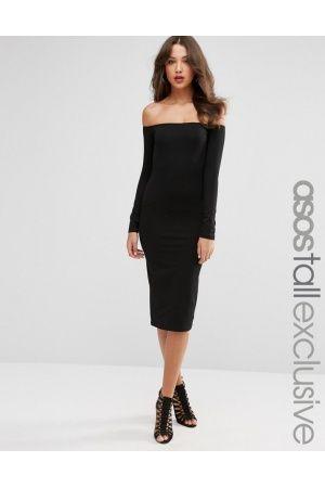efa57de253 Mujer Vestidos mini y ajustados - Vestido ajustado a media pierna con  escote bardot y manga larga de