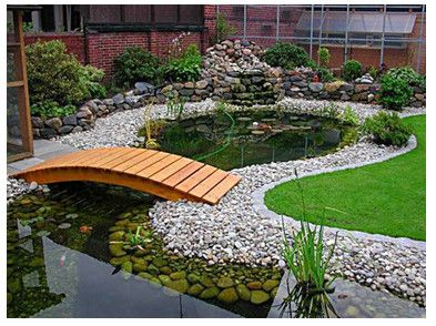 taman dengan kolam ikan   kolam ikan, kebun, taman jepang