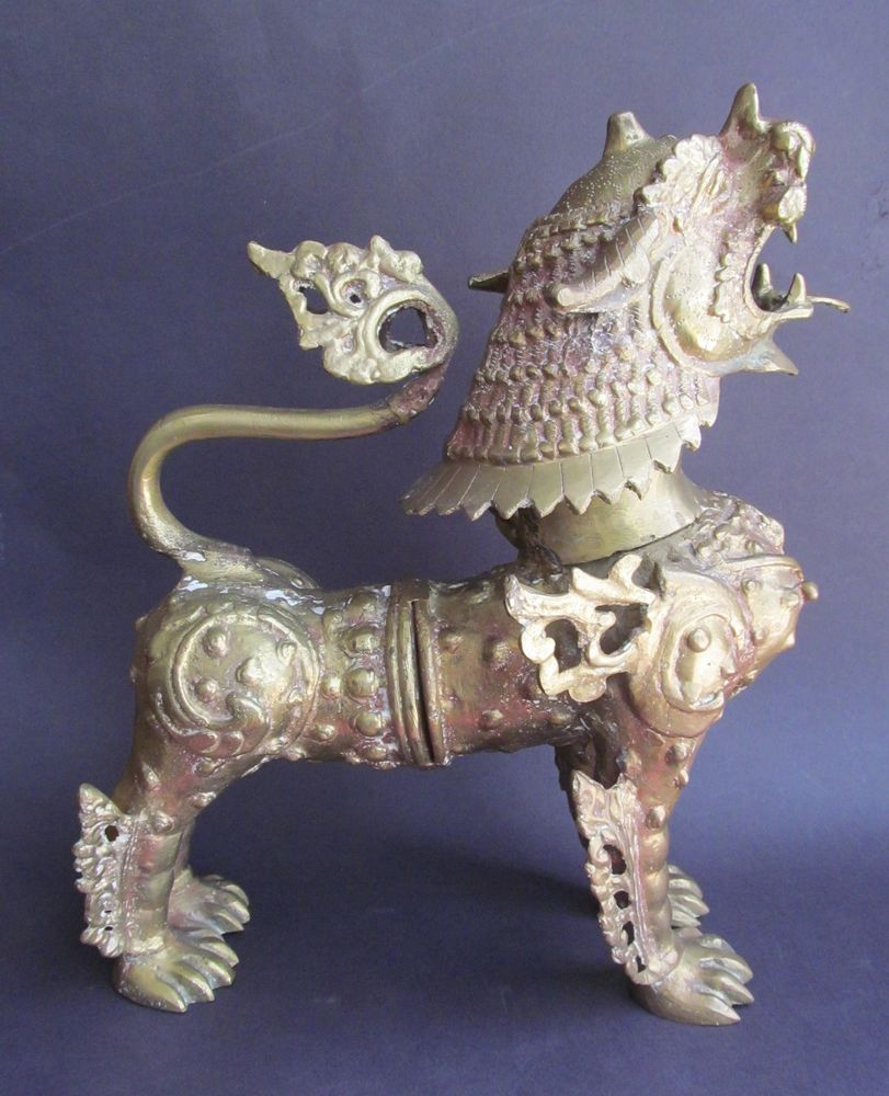 Antique Large Brass Chinese FOO DOG Statue Figurine