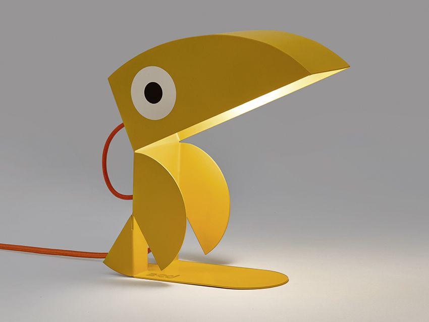 Lampe Toucan Jaune Lampe De Chevet Tole Decoupee Pliee