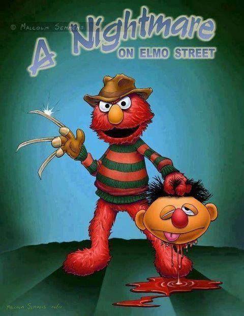 Nightmare On Sesame Street Elmo Retro Horror Bad Kids