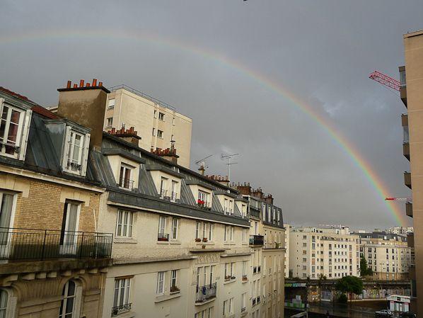 Orages, grosses averses et arc-en-ciel sur Paris