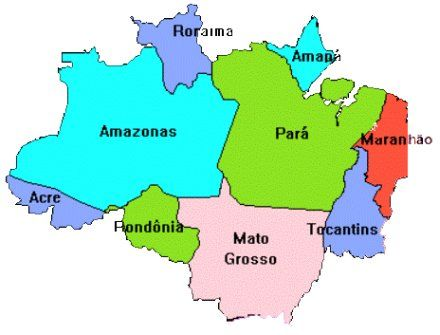 Map of Amazon Rainforest in Brazil. 60% of Brazil is covered in ...