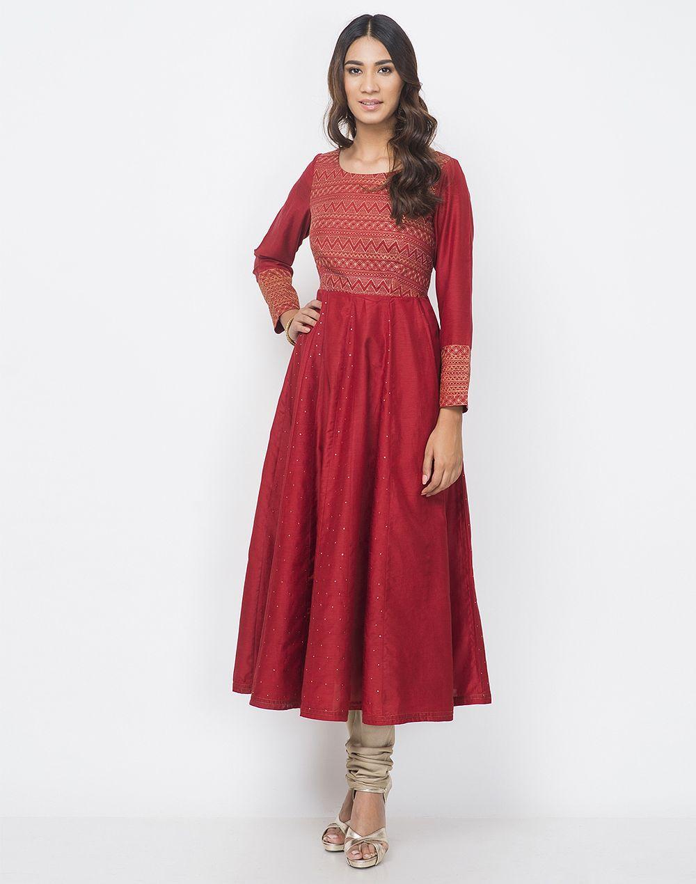 Cotton silk aari embroidered yoke slim fit long kurta kurtas