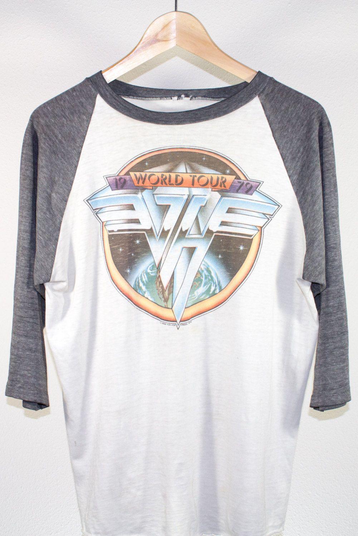 7a4503d2c3 Vintage 1979 Van Halen World Tour Concert Raglan Tee