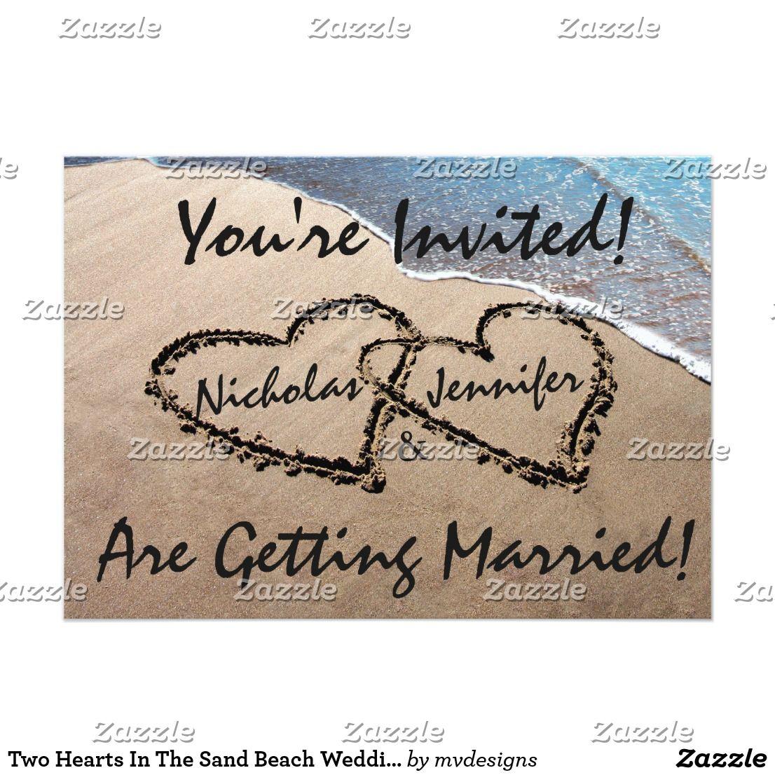 Two Hearts In The Sand Beach Wedding Invitation | Beach Wedding ...