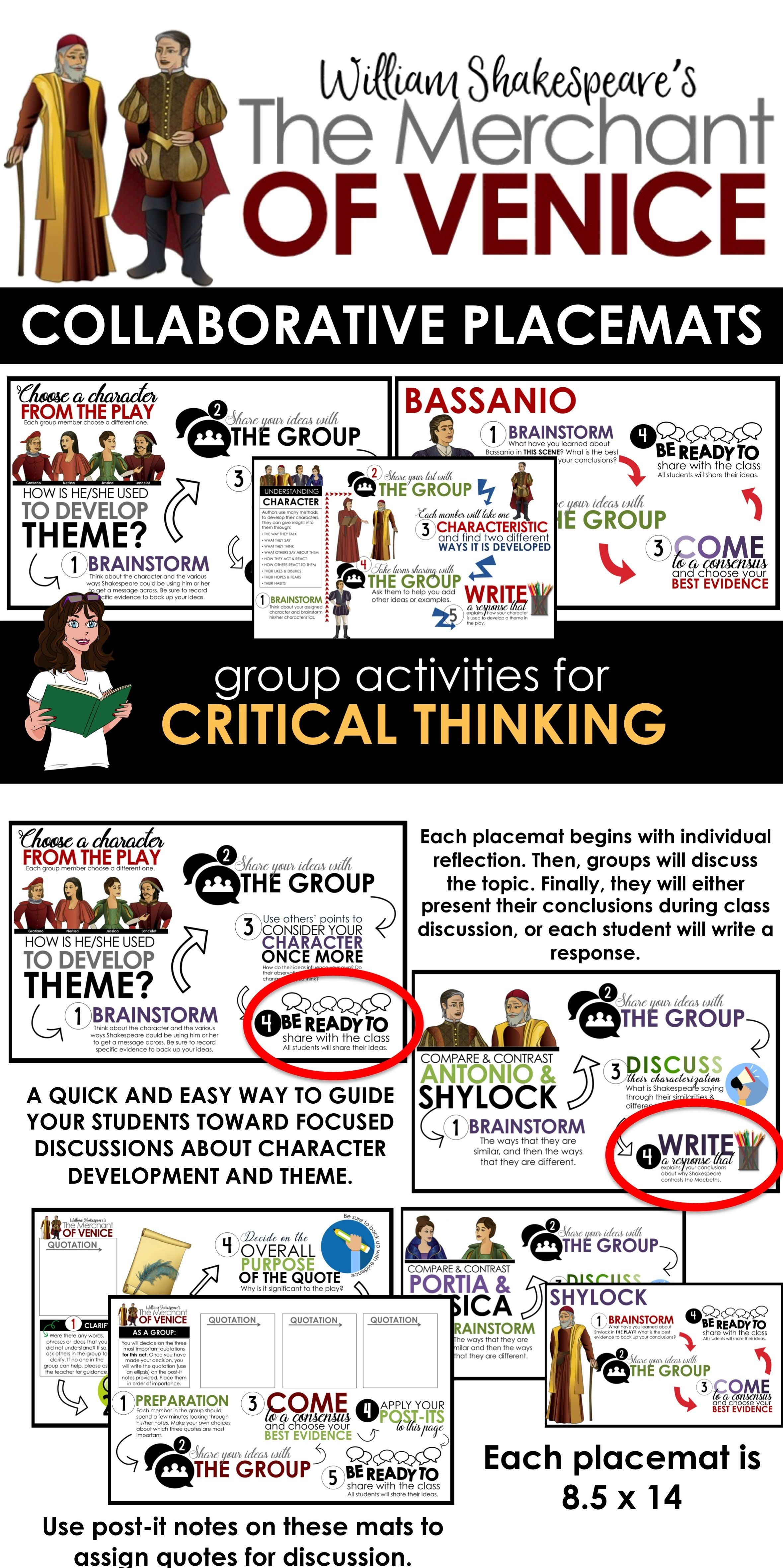 Merchant Of Venice Collaborative Placemat Shakespeare Lesson The Teaching Act 3 Scene 4 Analysis
