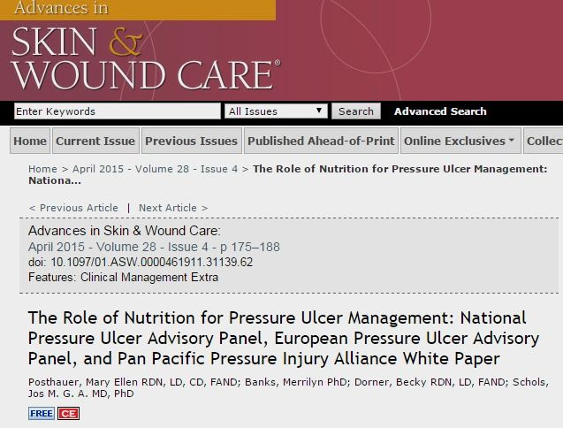 The Role Of Nutrition For Pressure Ulcer Management Nationa Advances In Skin Wound Care Pressure Ulcer Ulcers Wound Care
