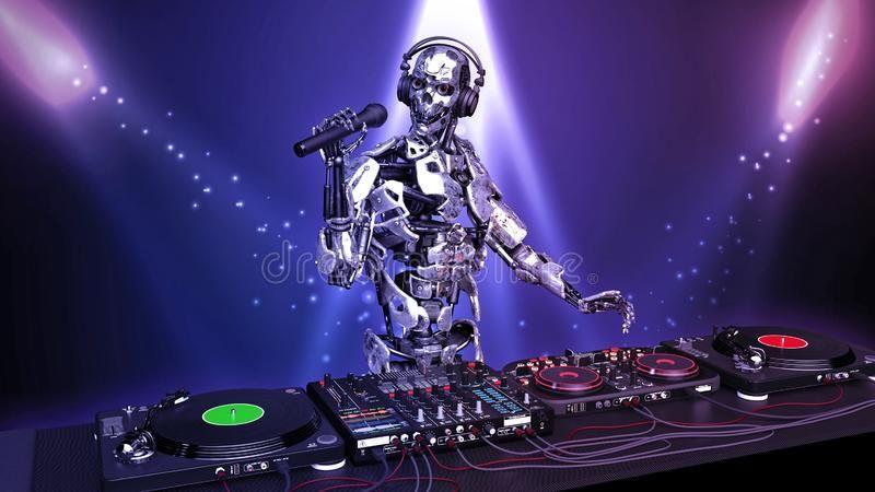 DJ Robot, disc jockey with microphone playing music
