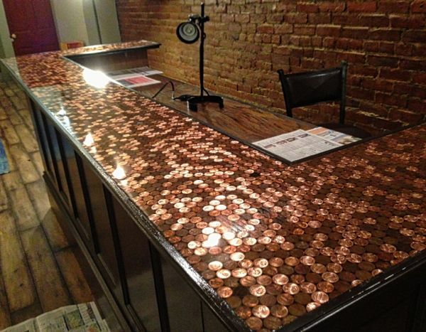 Bon Budget Friendly Countertop For Your Kitchen, Epoxy Is The Perfect Solution.  You Can Cover Concrete, Wood, License Plates, Bottle Caps, Or Even Pennies .