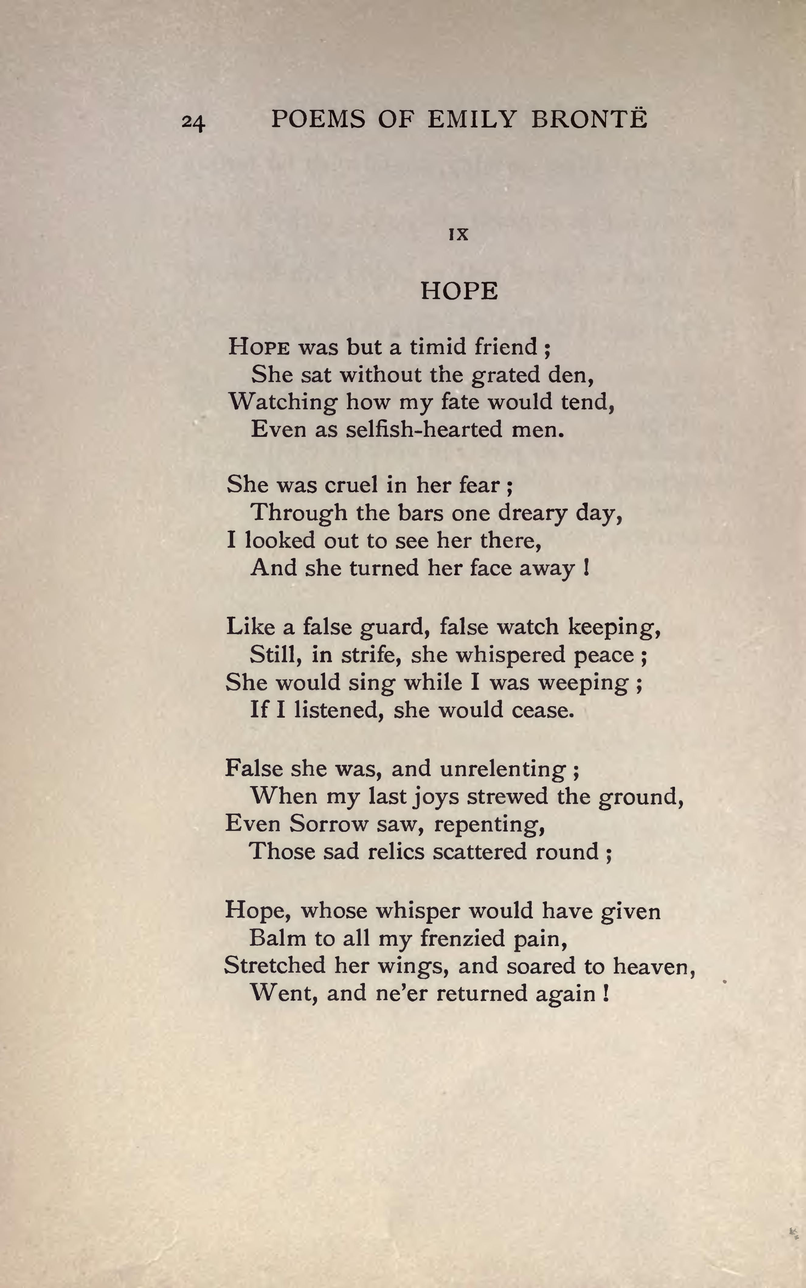 Hope By Emily Bronte Google Search Poetry The Soul Speaks