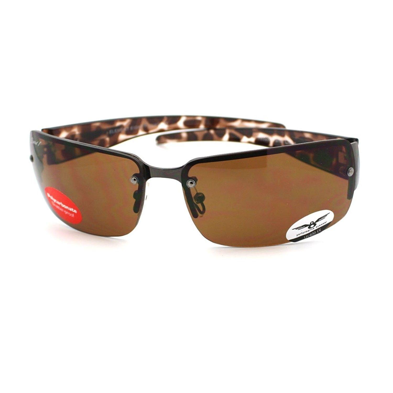 130f1d3e8b3 Rimless Rectangular Sunglasses Mens Designer Fashion Shades - Brown ...
