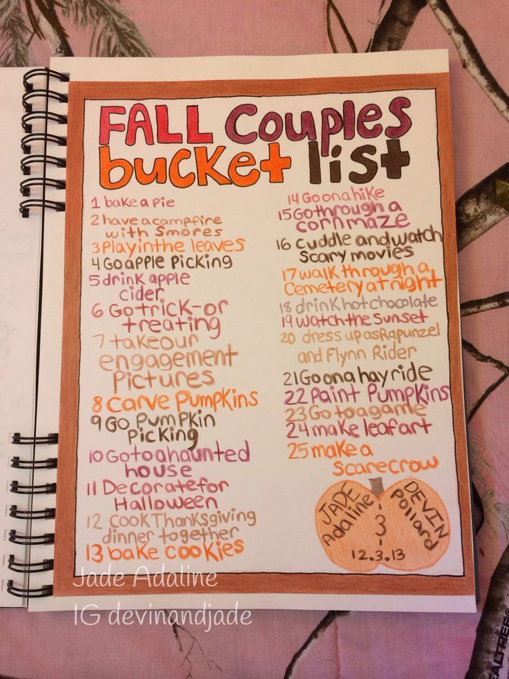 Our Bucket List For Fall 2014 That I Made For Devins Birthday