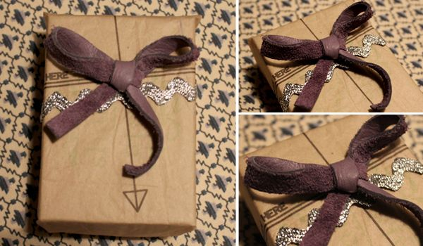 leather bow & pattern paper