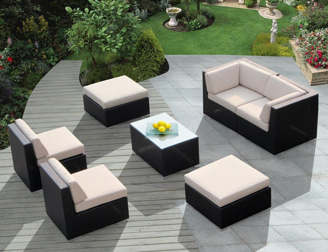 Genuine Ohana Outdoor Patio Wicker Furniture All Weather Gorgeous Couch Set  With BEIGE CUSHION    Patio Furniture Products    Search The Comparison  Board At ...
