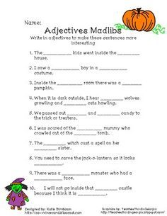 worksheet: Halloween Adjectives Worksheets Song Thriller ...