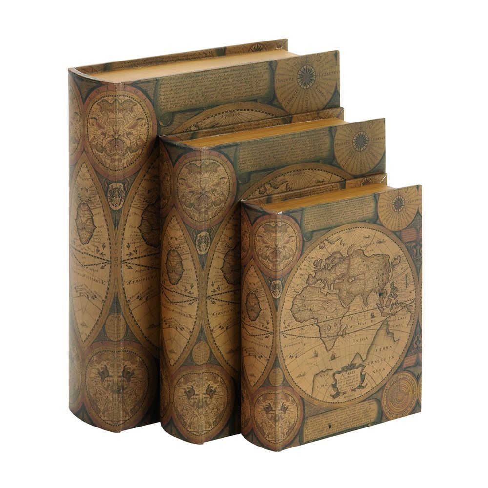 Shop woodland imports 61411 world map leather faux book boxes set shop woodland imports 61411 world map leather faux book boxes set of 3 at gumiabroncs Image collections