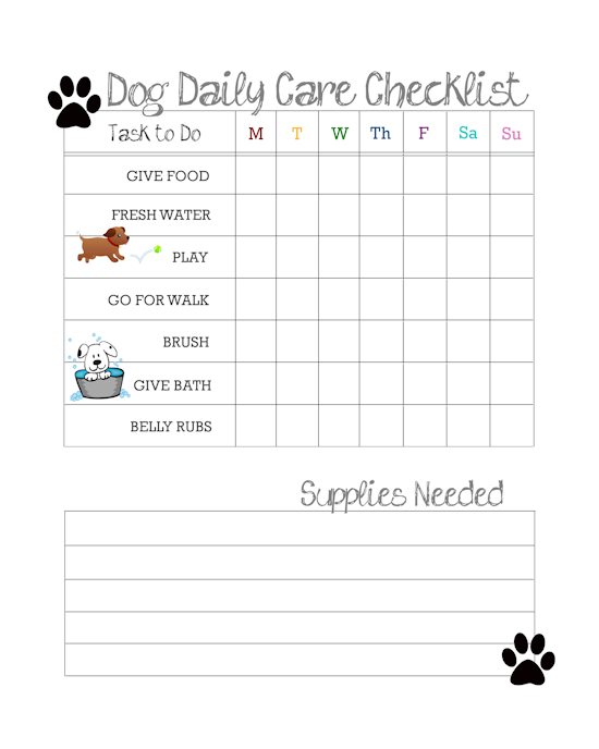 Daily Dog Care Checklist Free Printable Dog Care Checklist Pet