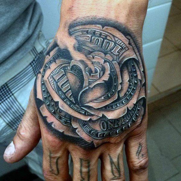 80 Money Rose Tattoo Designs For Men: Rose Hand Tattoos For Men Pin 80 Money Rose Tattoo Designs