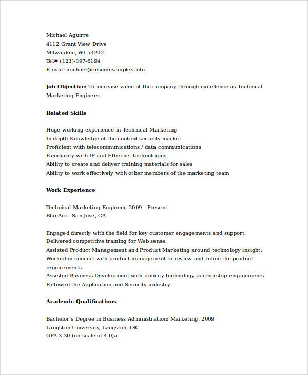 Technical Marketing Engineer Resume , Marketing Resume Samples for - marketing resume samples