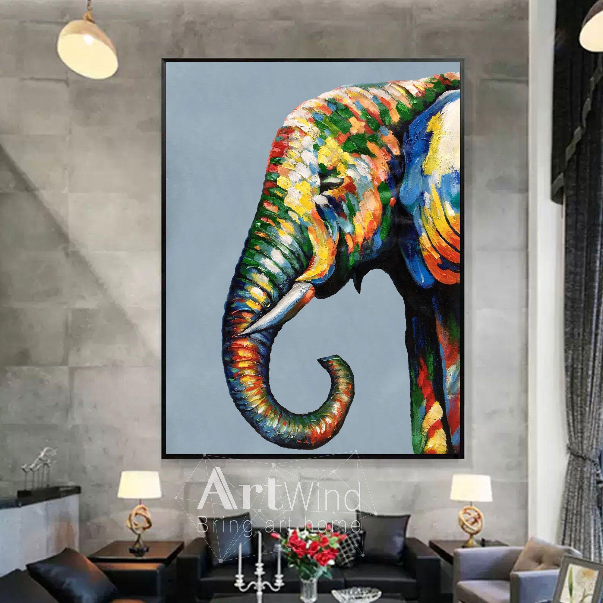 Affordable Art Office Art Modern Art Home Decor Elephant Original Artwork Pop Art Original Art Painting Wall Art Acrylic Painting