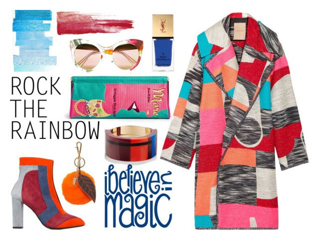 """""""Rainbow Style"""" by erindream ❤ liked on Polyvore featuring moda, Roksanda, Charlotte Olympia, Just Cavalli, Dolce&Gabbana, Marni, INDIE HAIR, Gucci, Yves Saint Laurent e women's clothing"""