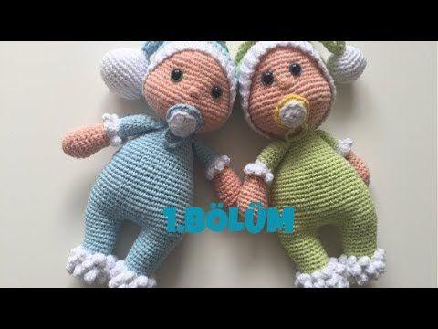 Amigurumi Emzikli uykucu bebek(bacak,gövde) yapımı 1.Bölüm 1/2 - YouTube #bonecas