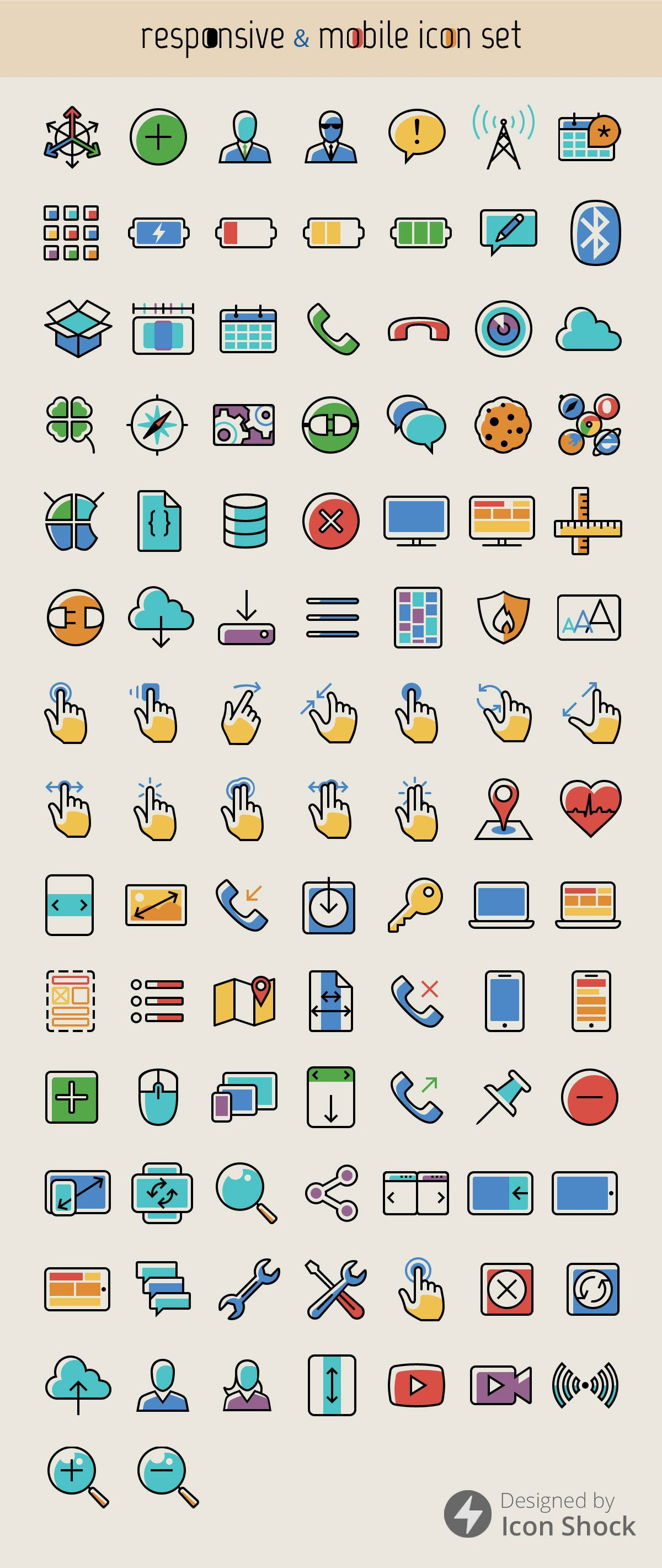 Freebie: Responsive and Mobile Icon Set (100 icons, png, psd) - Smashing Magazine