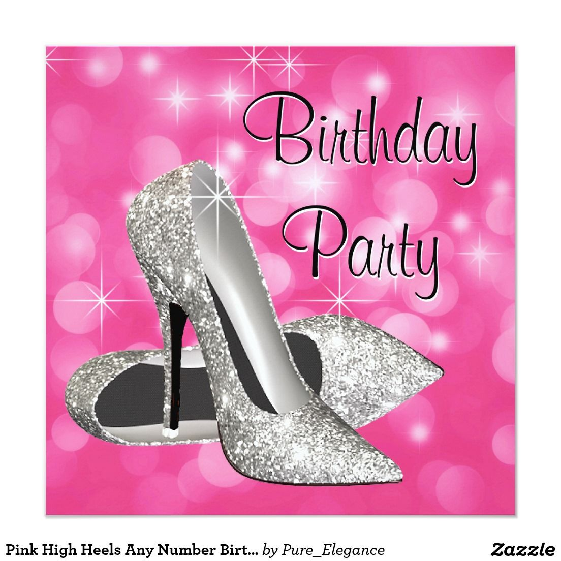 Pink High Heels Any Number Birthday Party 525x525 Square Paper