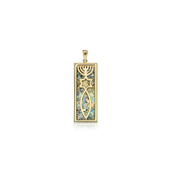Jewish Symbol Pendant With Menorah Star Of By Bestnamenecklaces