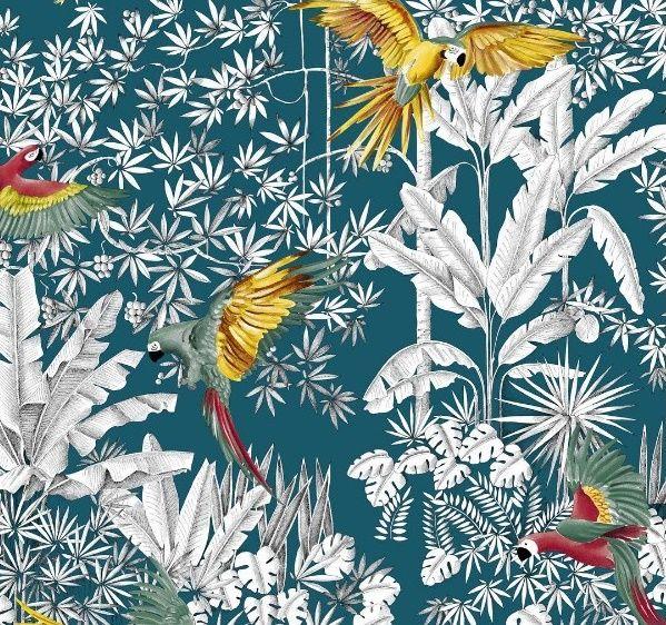 tissu perroquets mania th venon tropical exotique palmiers tissu tropical pinterest. Black Bedroom Furniture Sets. Home Design Ideas