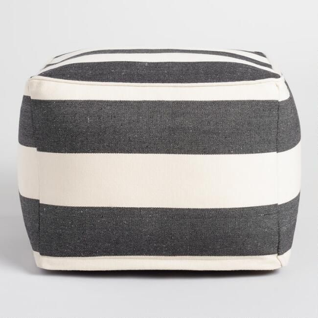 Black And Ivory Square Indoor Outdoor Pouf V2 Outdoor