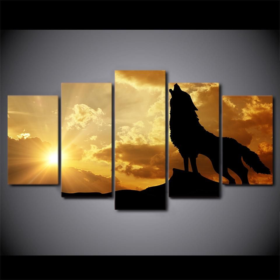 5 piece HD print Howling Wolf in Sunset canvas painting Framed ...