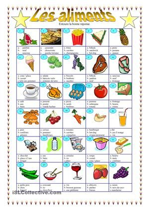 Les aliments french worksheets and worksheets - Materiel de cuisine en anglais ...