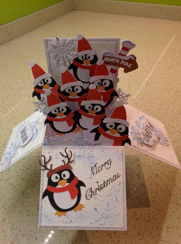 Christmas box pop up card penguins Christmas Pinterest