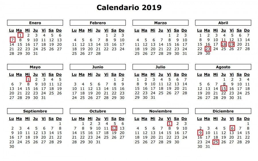 Calendario 2019 Y 2020 Con Festivos Para Colombia.Calendario 2019 Calendario 2019 Colombia