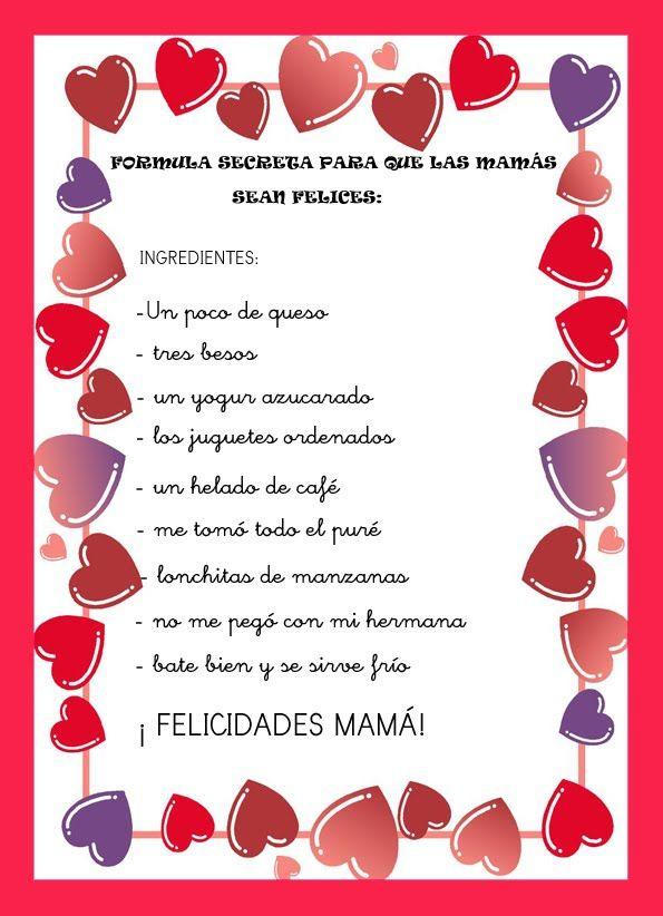 Poemas Bonitas Cartas Para El Dia De La Madre Poesia Para La Mama Buscar Con Google Dia De Las Madres
