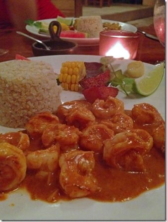 saucy smoked chipotle shrimp with brown rice, corn, and hearts of palm