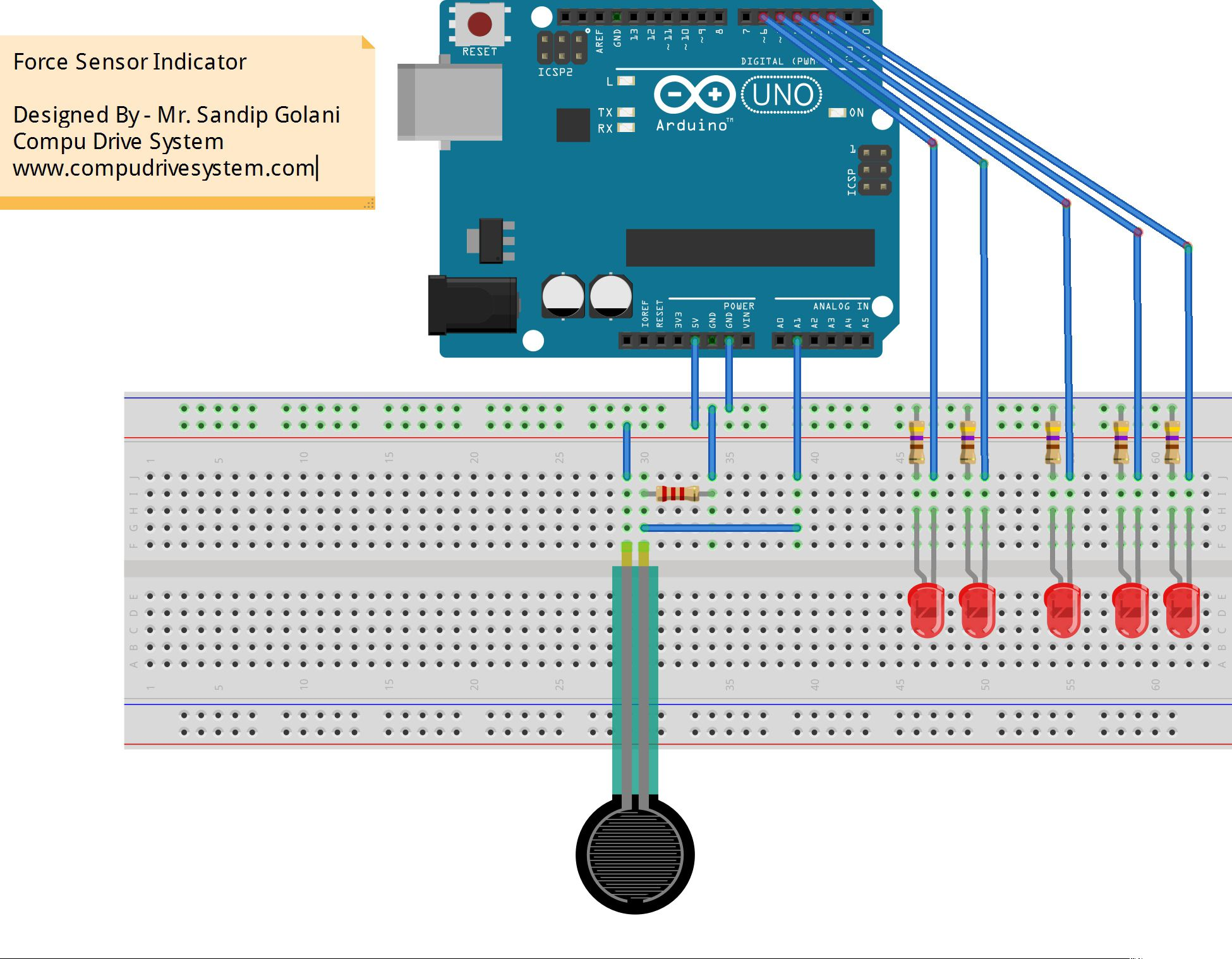 Today A Weekend Circuit On Arduino UNO Related To Force Sensing Resistor FSR The Sample Code Will Be Given My Website Compudrivesystem