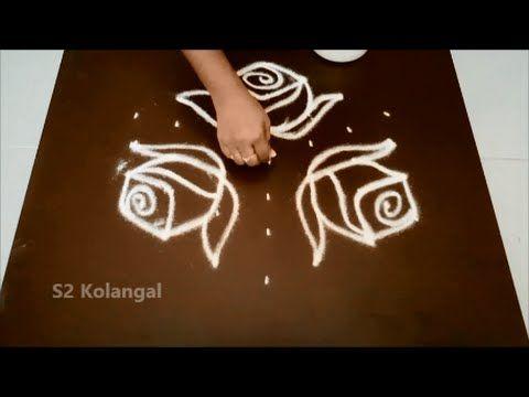 Latest Simple Flower Rangoli Designs With Dots For Beginners Easy Kolam Designs For Diwali Free Hand Rangoli Design Rangoli With Dots Simple Flower Rangoli