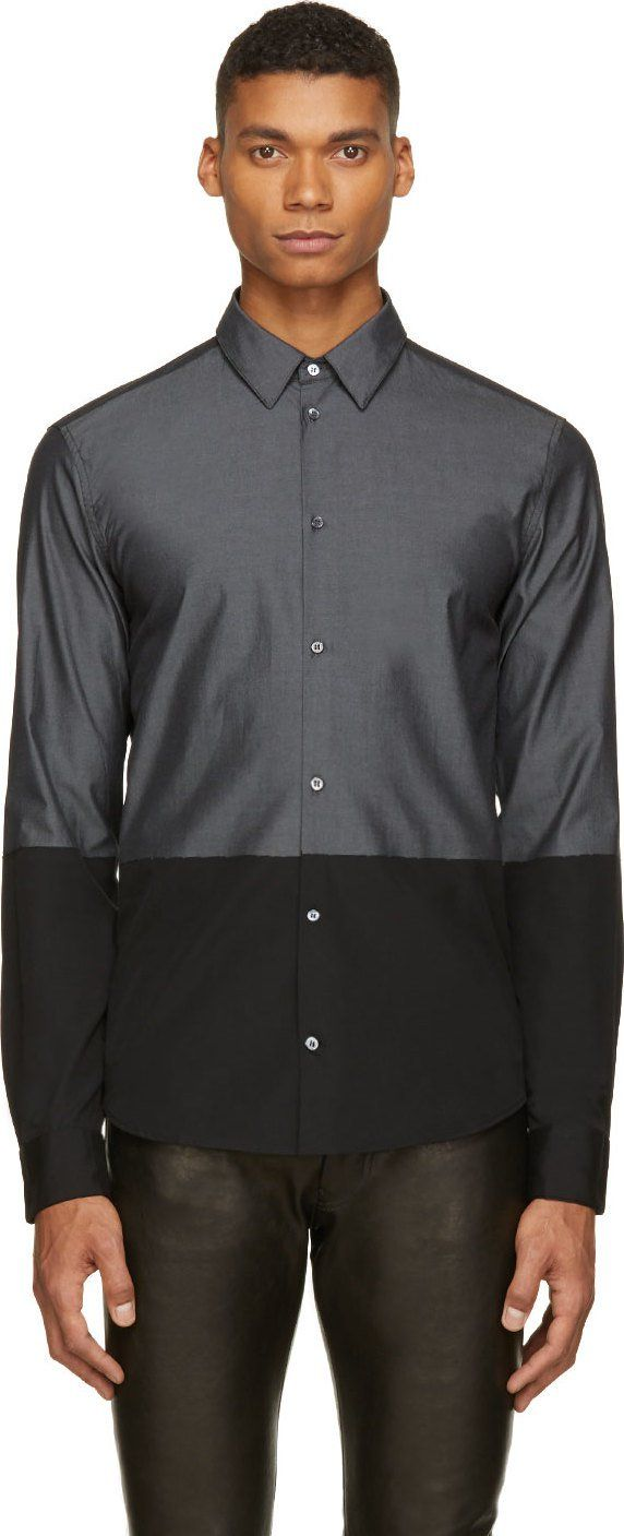 Costume National Black & Grey Colorblocked Shirt