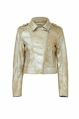 Rino & Pelle Women's Jacket Gold Size 8 Moto Metallic Faux Leather $205- #085 #fashion #clothing #shoes #accessories #women #womensclothing (ebay link)