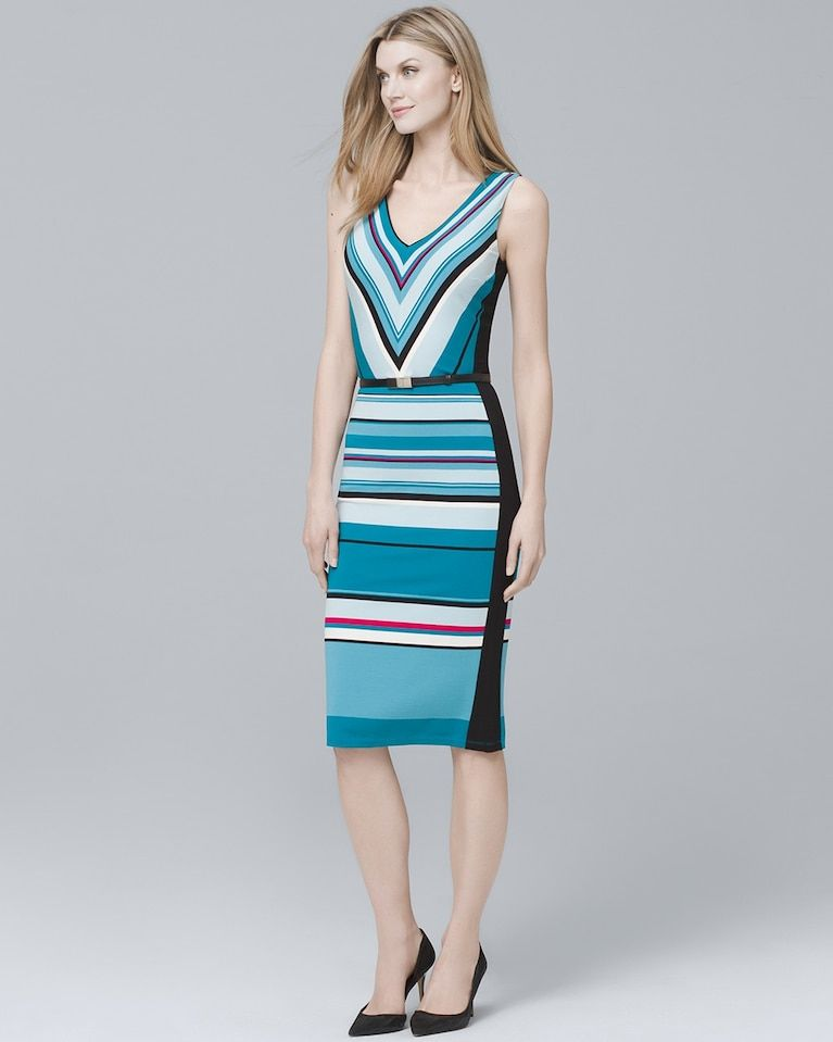 e48058ad Women's Chevron-Stripe Knit Sheath Dress by White House Black Market ...