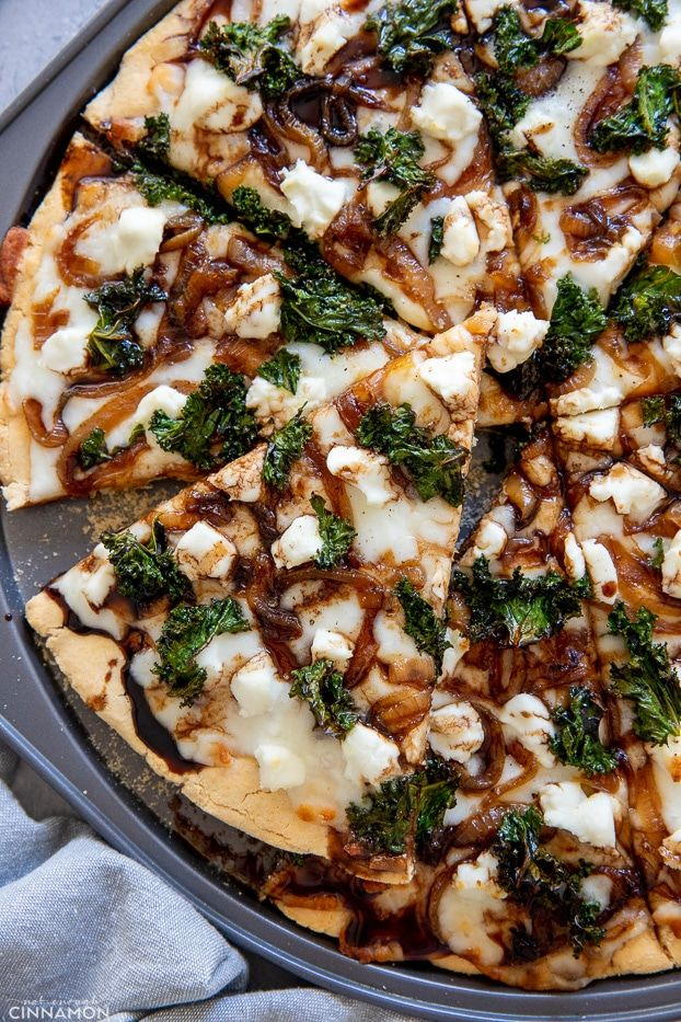 Caramelized Onion, Goat Cheese and Kale Pizza with Balsamic Drizzle.