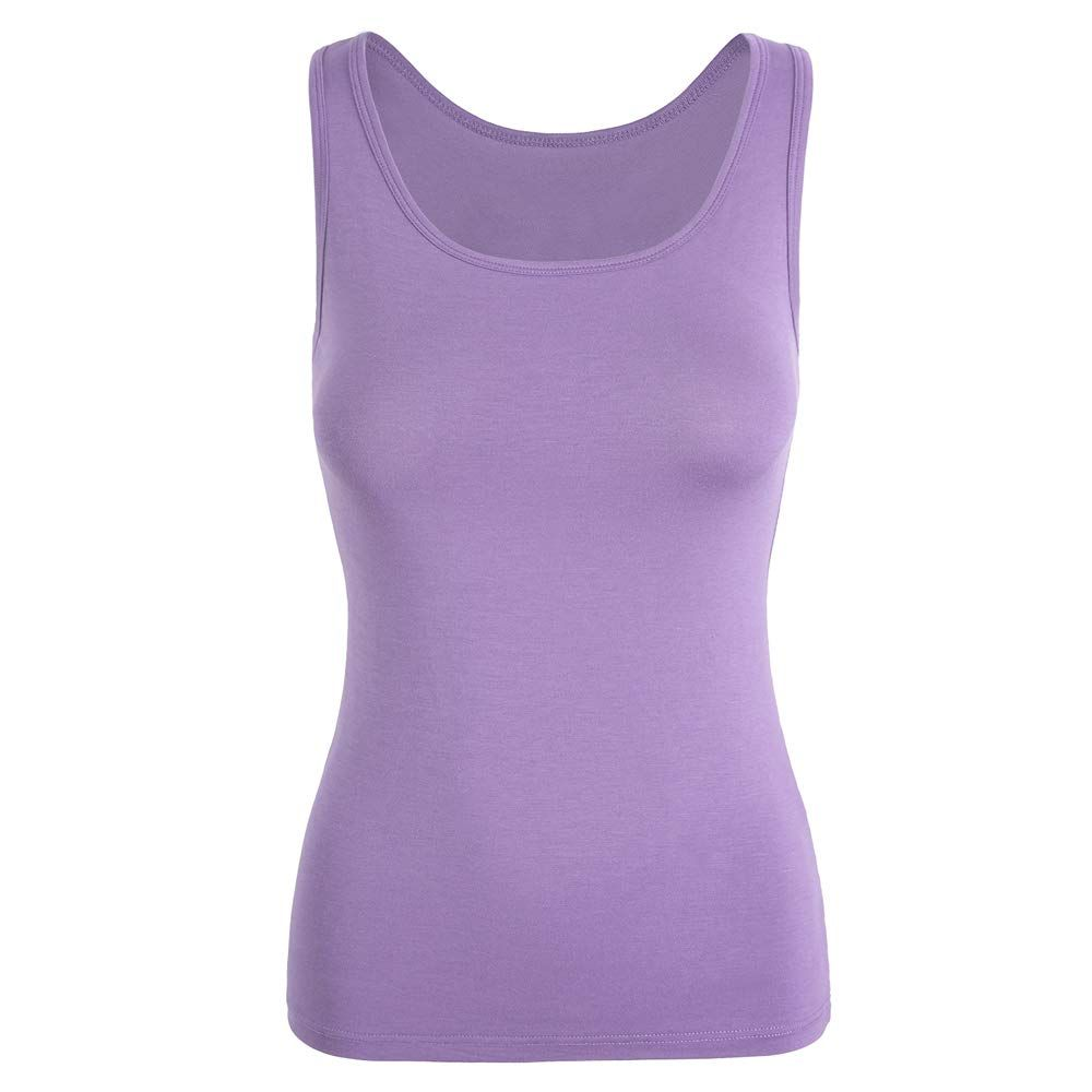 CARCOS Padded Tank Top Womens Camisole Vest with Bra Basic Wide Strap Sleeveless Scoop Neck Vest Yoga Cami