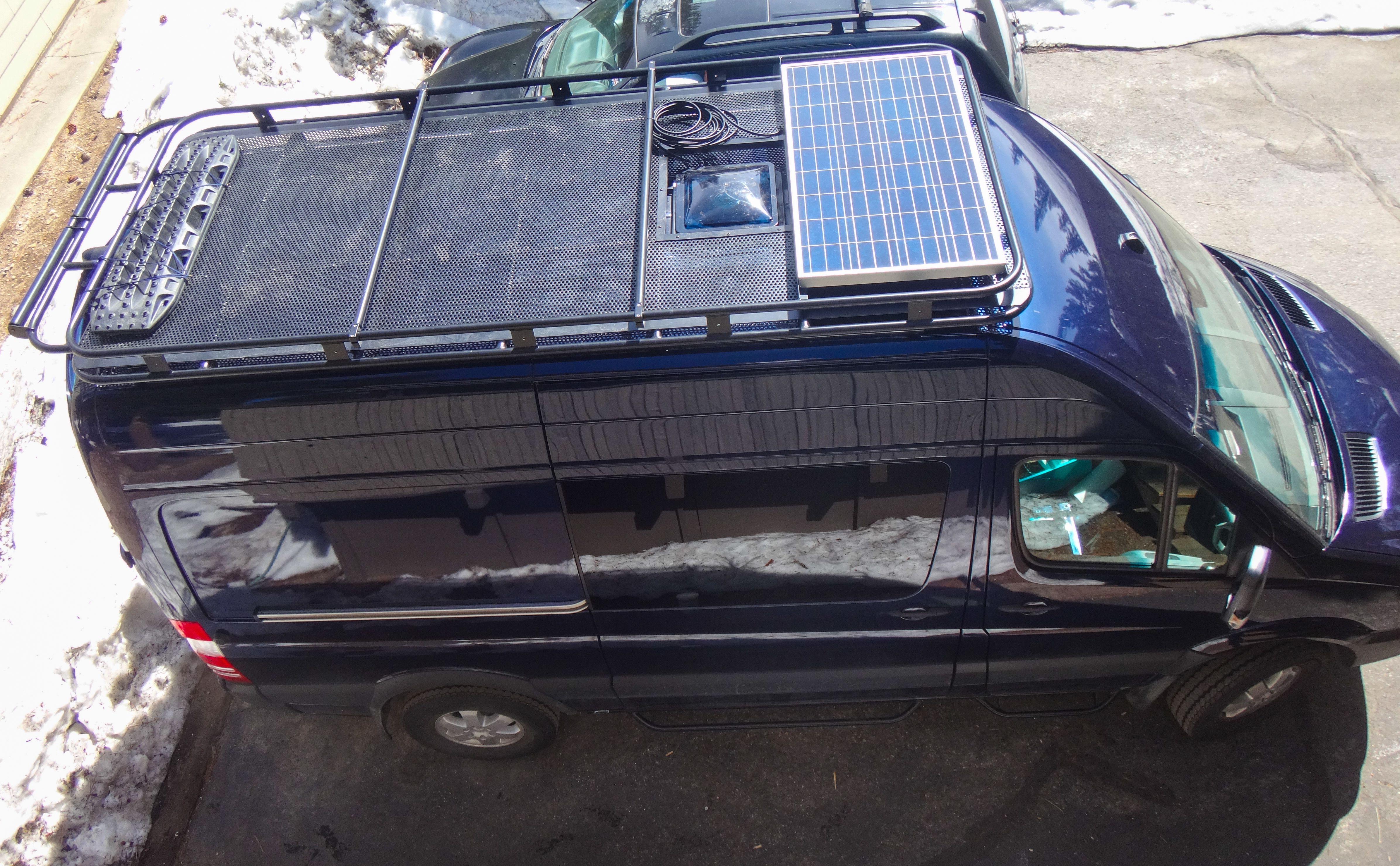 Aluminess Roof Rack For Mercedes Sprinter Solar Panel Perforated Aluminum Flooring And Boat Rollers Rv Solar Power Camper Van Conversion Diy Transit Camper