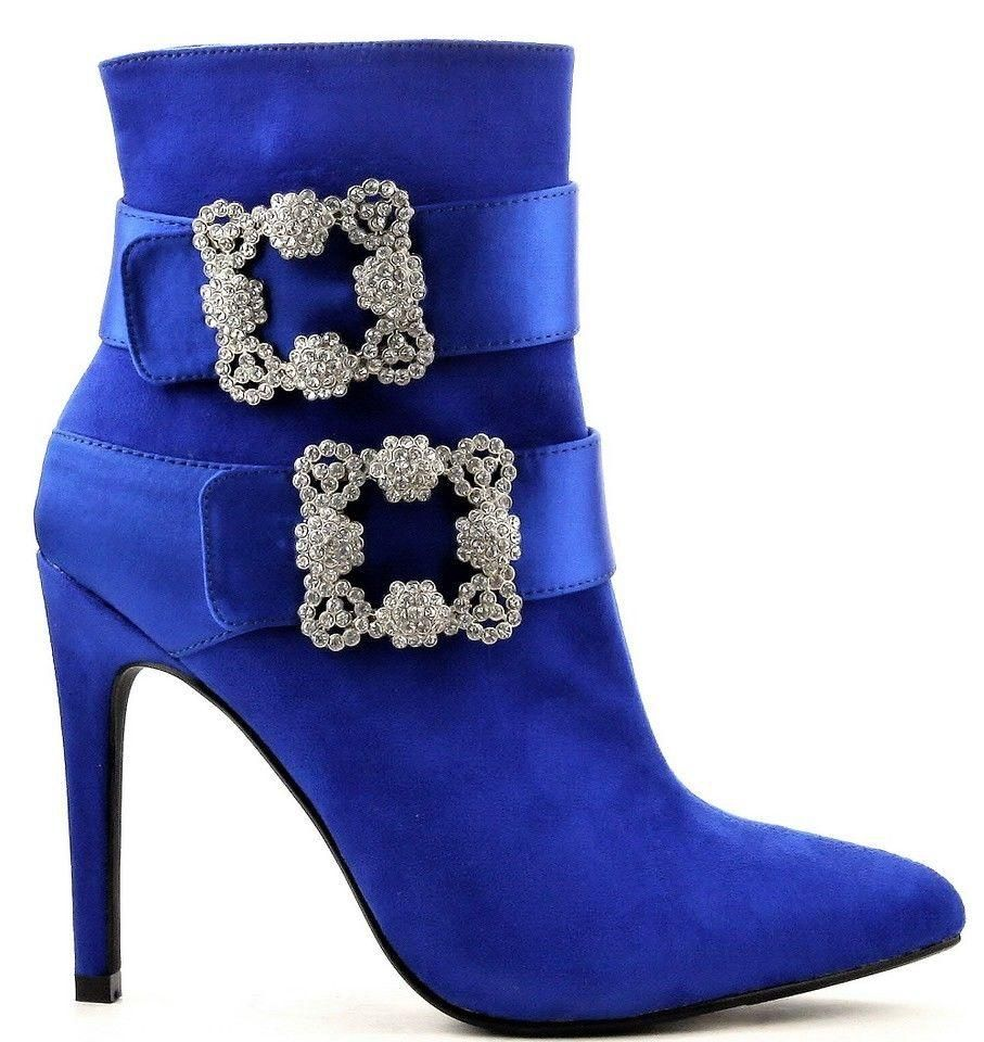 Cruise-6 Pointed Toe Ankle High Stiletto Heel Large Rhinestone Buckles Bootie Blue